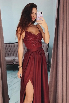 Lace Appliques Spaghetti-Strap Prom Dresses | Side slit Sleeveless Evening Dresses with Beads_2