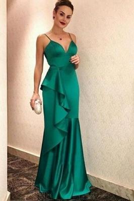 Ruffles Spaghetti-Straps Prom Dresses |Popular Sexy Mermaid Sleeveless Evening Dresses_1
