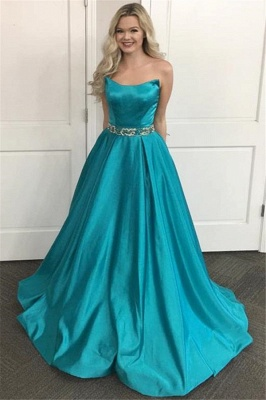 Lace Appliques Sequin Strapless Prom Dresses | Sleeveless Evening Dresses_1