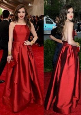 Red Halter Ruffles Prom Dresses Open Back Sleeveless Sexy Evening Dresses_1