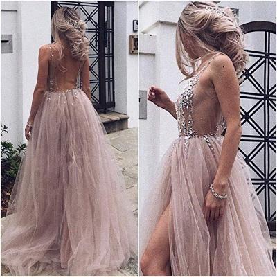 Pink V-Neck Lace Appliques Crystal Prom Dresses | Sheer Side slit Backless Sleeveless Evening Dresses_2