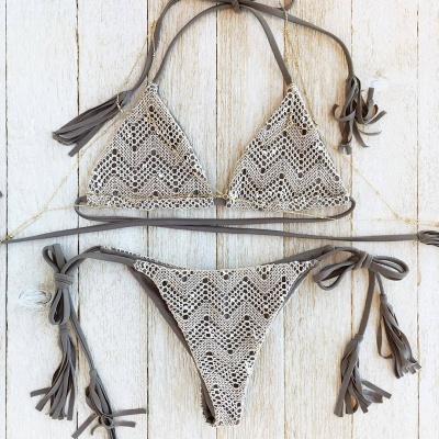 Lace Triangle Cut-outs Halter Bikini Swimwears_6