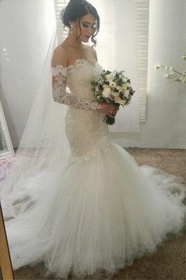 Gorgeous Appliques Sweetheart Wedding Dresses | Ribbons Sheer Longsleeves Floral Bridal Gowns