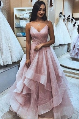 Elegant Pink Spaghetti-Straps Princess A-line Quality Tulle Ruffle Prom Dresses | Suzhou UK Online Shop_1