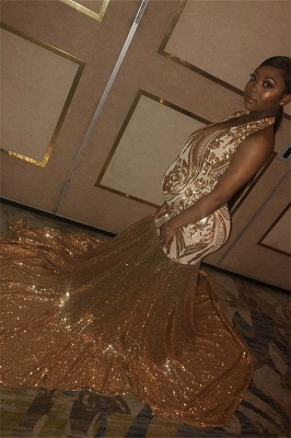 Glamorous Gold Halter Sequins Prom Dresses | Over Size Sexy Mermaid Sleeveless Evening Dresses_1