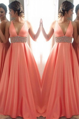 Crystal V-Neck Lace Prom Dresses Sleeveless Side Slit Tulle Sexy Evening Dresses_1