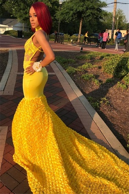 Yellow Halter Trendy Backless Summer Sleeveless Applique Trumpet Evening Dresses | Suzhou UK Online Shop_3