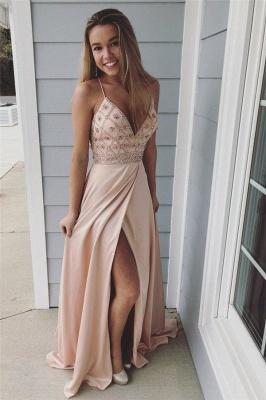 Glamorous Spaghetti-Strap Crystal Prom Dresses | Side slit Sleeveless Evening Dresses with  Beads_1