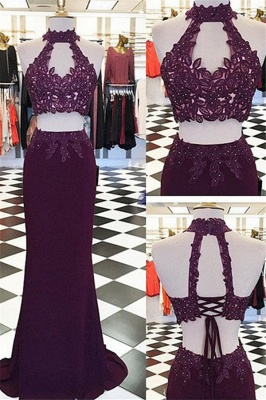 Halter Appliques Beads Lace-Up Prom Dresses High Neck Sleeveless Sexy Evening Dresses_1