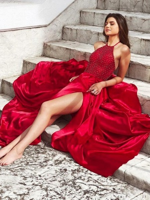 Glamorous Red Halter Sleeveless Prom Dresses Side Slit Sexy Evening Dresses with Beads_2