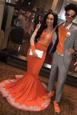 Trumpet Long Sleeves Appliqued Floor Length Prom Dresses | Suzhou UK Online Shop_3
