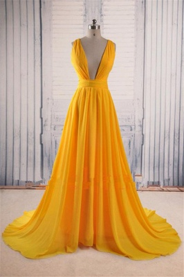 Charming Yellow Straps Prom Dresses | Ruffles  Sleeveless Evening Dresses_1