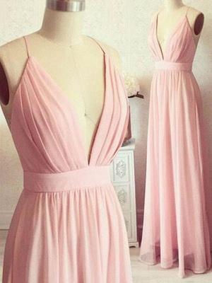 Romactic Pink Spaghetti Strap Ruffles Prom Dresses Sleeveless Sexy Evening Dresses with Belt_2