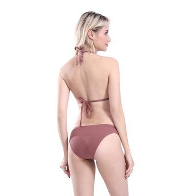 Plain Triangle Pads Halter Two-piece Bikini Sets_8