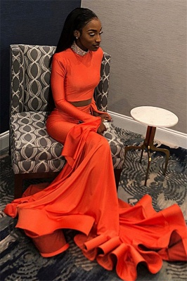 Sexy Orange Sleeved High-Neck Trumpet Long Prom Dress | Suzhou UK Online Shop_4