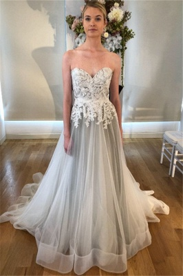 Sheer Appliques Sweetheart Wedding Dresses | Sleeveless Backless Floral Bridal Gowns