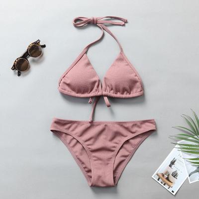 Plain Triangle Pads Halter Two-piece Bikini Sets_16