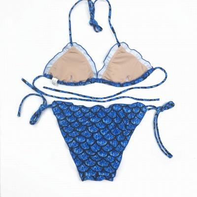 Fish-scale Patterns Two-piece Bandage Sexy Bikini Sets_3