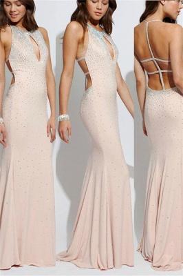 Glamorous Lace Up Halter Beads Prom Dresses | Sexy Mermaid  Keyhole Evening Dresses_1