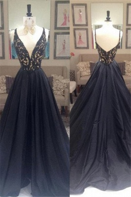 Black Lace V-Neck Sleeveless Prom Dresses | Open Back Evening Dresses with Beads_4