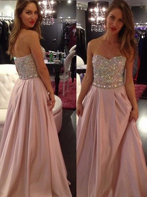 Sweetheart Crystal Prom Dresses | Fashion Pink Sleeveless Evening Dresses_2