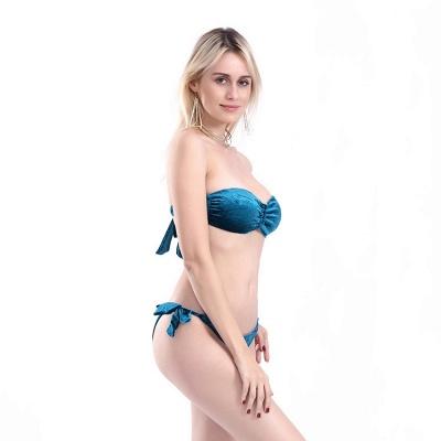 Sweetheart Strapless Bandage Velvet Two-piece Bikini Swimwears_14