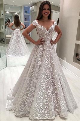 Stylish Off-The-Shoulder Appliques A-Line Wedding Dress | Bridal Gowns Online_1