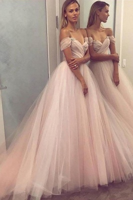 Sexy Crystal Off-the-Shoulder Prom Dresses   Ruffle Sheer Sleeveless Evening Dresses_1
