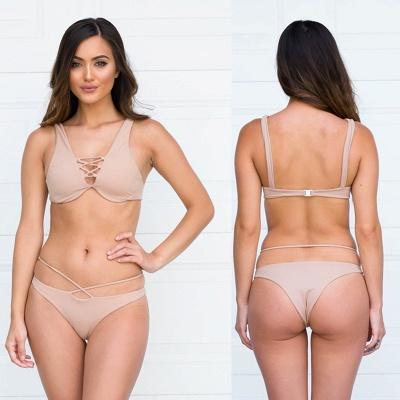 Lace-up Bandage Plain Two-piece Bikini Beachwears_20