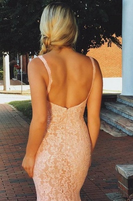 Fashion Pink Lace Straps Prom Dresses | Sleeveless Backless Sexy Mermaid Evening Dresses Cheap Dresses_3