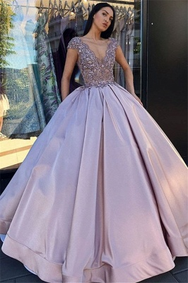 Sexy Low Cut Summer Sleeveless Crystal Beading Ball-Gown Prom Dresses | Suzhou UK Online Shop_1