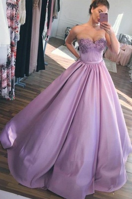 Glamorous Sweetheart Lace Appliques Prom Dresses | Cheap Ribbon Sleeveless Evening Dresses_3