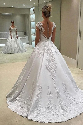 Chic Sweetheart Lace Princess Ivory Wedding Dresses Long-Sleeves Appliques Bridal Gowns On Sale_2