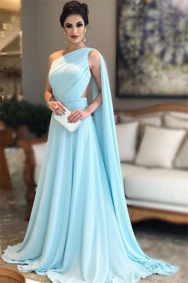 Glamorous Ruffle Lace Appliques Oneshoulder Prom Dresses | A-Line Over-Skirt Sleeveless Evening Dresses_1
