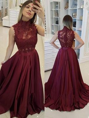 Burgundy High Neck Applique Prom Dresses Sleeveless Beads Sexy Evening Dresses with Belt_1