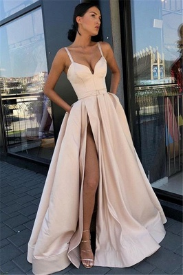 Amazing Spaghetti-Straps Summer Sleeveless Side-Slit Princess A-line Prom Dress | Suzhou UK Online Shop_1