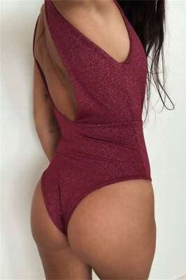 Deep V-neck Cut-out One-piece Maillot Beachwears_4