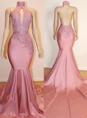 Halter Trendy Backless Trumpet Appliques Long Train Prom Dresses | Suzhou UK Online Shop_1