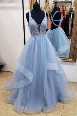 Glamorous Lace Straps Lace Appliques Prom Dresses |Tiered Lace-Up Sleeveless Evening Dresses