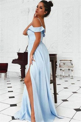 Glamorous Off-the-Shoulder Ruffle Prom Dresses | Side slit A-Line Sleeveless Evening Dresses_2