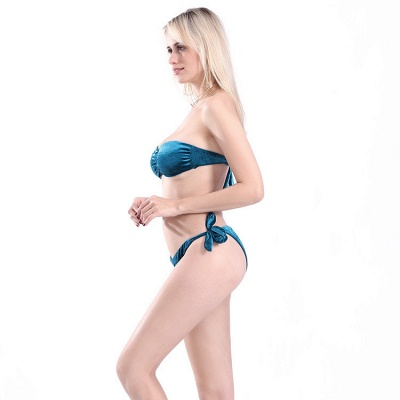 Sweetheart Strapless Bandage Velvet Two-piece Bikini Swimwears_9