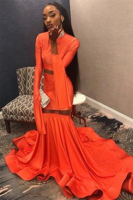 Sexy Orange Sleeved High-Neck Trumpet Long Prom Dress | Suzhou UK Online Shop_1