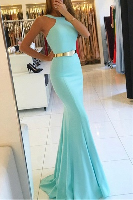 Trumpet Halter Summer Sleeveless Long Prom Dresses with Sash | Suzhou UK Online Shop_3