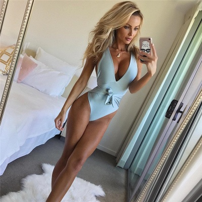 One Piece Sexy V-Neck Halter Ribbon Bow Swimwear Suits_8