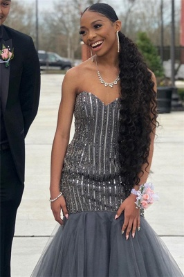 Sweetheart Sequins Prom Dresses | Sexy Mermaid Tulle Sleeveless Evening Dresses with Beads_2