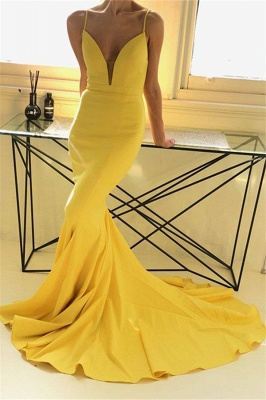 Charming yellow Spaghetti Strap Prom Dresses Sleeveless Mermaid Open Back Sexy Evening Dresses_1