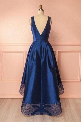 Glamorous Thick Satin Straps Prom Dresses | Hi-Lo Lace Sleeveless Evening Dresses_2