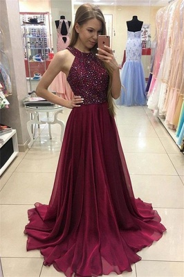 Cheap Crystal Jewel Prom Dresses | Sheer Sleeveless Evening Dresses