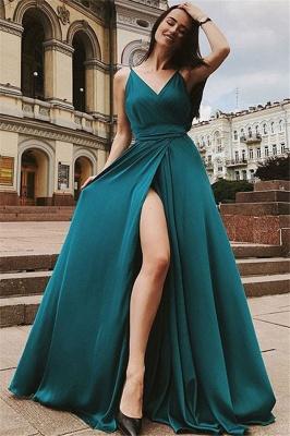 Glamorous Spaghetti Strap Prom Dresses Sleeveless Side Slit Sexy Evening Dresses with Belt_3