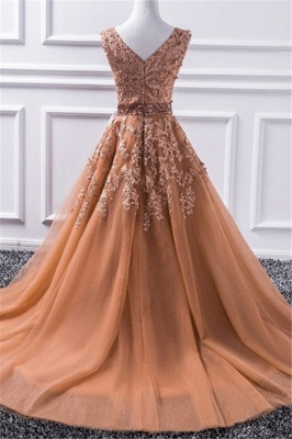 Glamorous V-Neck Applique Crystal Prom Dresses Sleeveless Tulle Sexy Evening Dresses_3